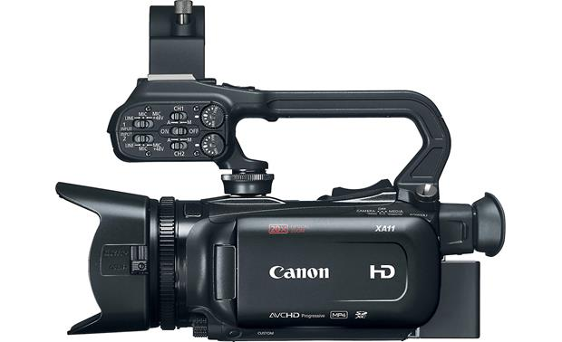 Canon XA11 Handle unit includes dual XLR inputs with individual controls