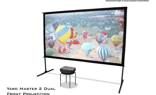 Elite Screens Yard Master 2 Dual Front-projection mode using an ultra short-throw projector