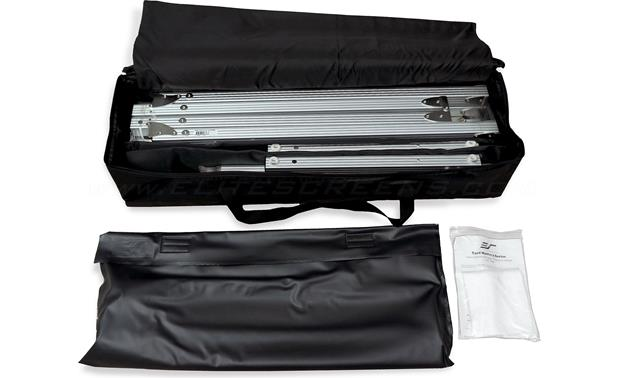Elite Screens Yard Master 2 Dual Soft padded carrying bag stores all parts for easy portability