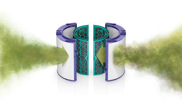 Dyson Pure Cool™ TP04 Captures pollutants with 360° sealed HEPA and activated carbon filters