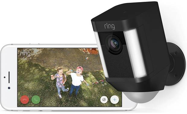 Ring Spotlight Cam Battery and Solar Panel Bundle Catch the happy action, too!