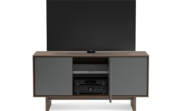 BDI Octave™ 8377GFL Toasted Walnut - upper compartments can accommodate a sound bar of up to 44