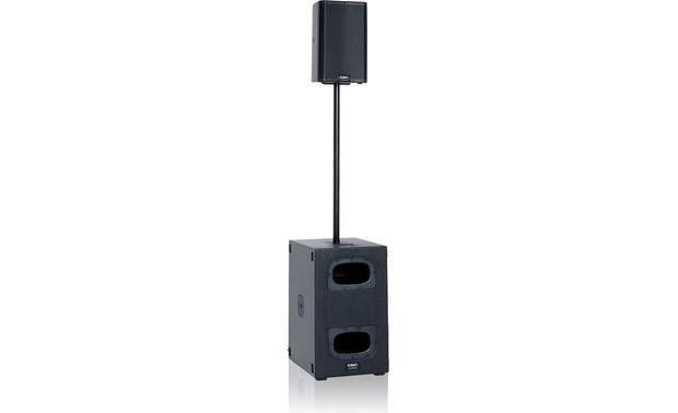 QSC KS212C with a pole-mounted K.2 PA speaker on top