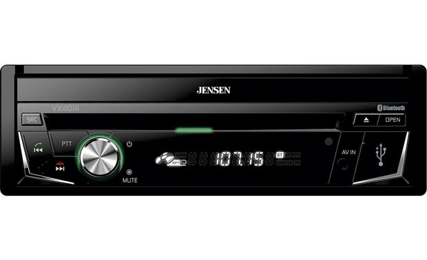 Jensen VX4014 The touchscreen display folds out of sight when not in use.