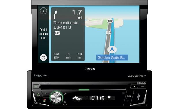 Jensen VX4014 Apple CarPlay lets you pull up maps from your iPhone.