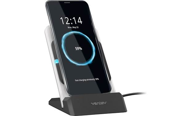 Ventev wireless chargestand Shown with phone on charger (phone not included)