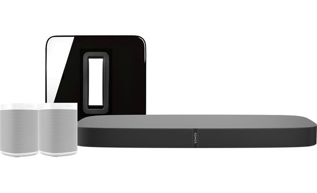 Sonos Playbase 5.1 Home Theater System with Voice Control Black Playbar and Sub, white Sonos One speakers