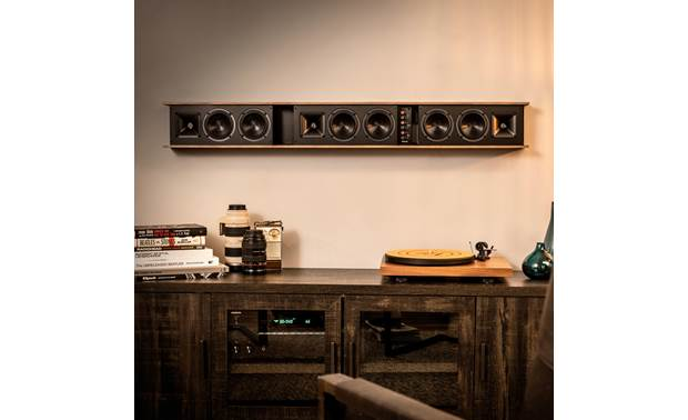 Klipsch Heritage Theater Bar Wraparound magnetic grille can be easily removed to show off the bar's inner beauty