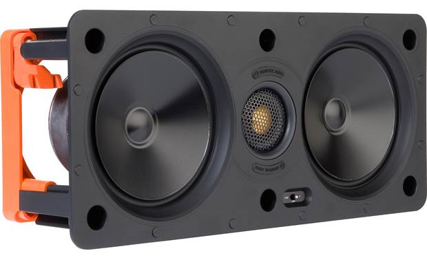 Monitor Audio W250-LCR Angled front view with grille off