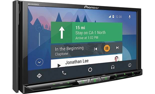 Pioneer AVH-W4400NEX Android Auto navigation pictured.