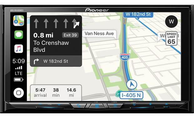 Pioneer AVH-W4400NEX Save time with great directions from CarPlay or Android Auto. Apple CarPlay navigation pictured.