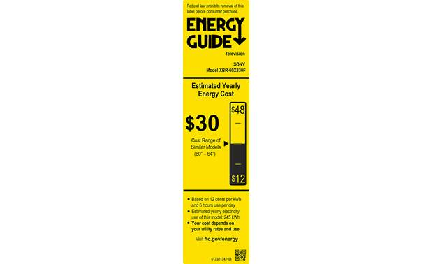 Sony XBR-60X830F Energy Guide