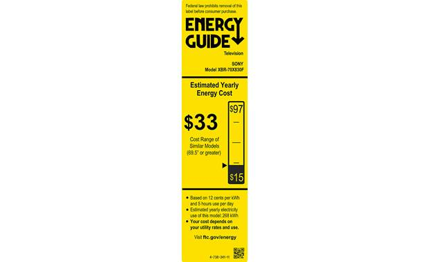 Sony XBR-70X830F Energy Guide
