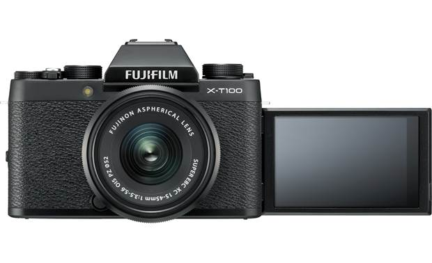 Fujifilm X-T100 Kit Shown with 3-way tilting touchscreen facing forward — perfect for selfies