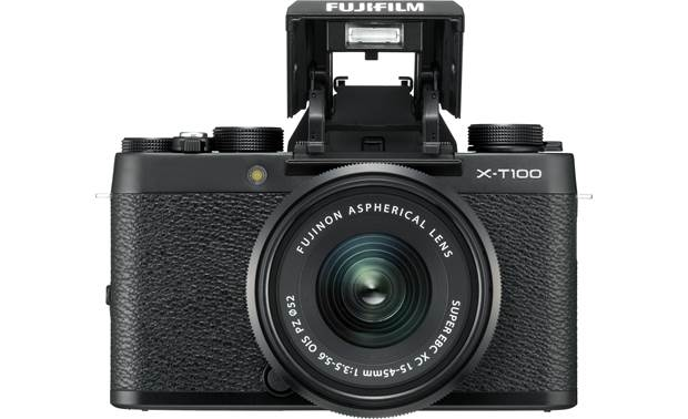 Fujifilm X-T100 Kit Shown with built-in flash deployed