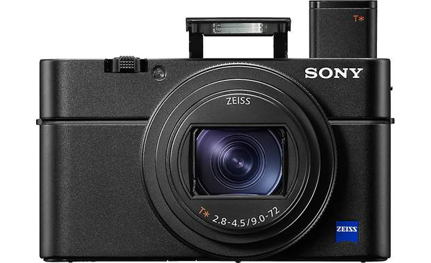 Sony Cyber-shot® DSC-RX100 VI Front, with viewfinder popped up and built-in flash deployed