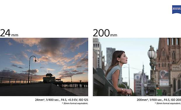 Sony Cyber-shot® DSC-RX100 VI The camera's 24-200mm zoom lenses can capture wide shots and close-ups
