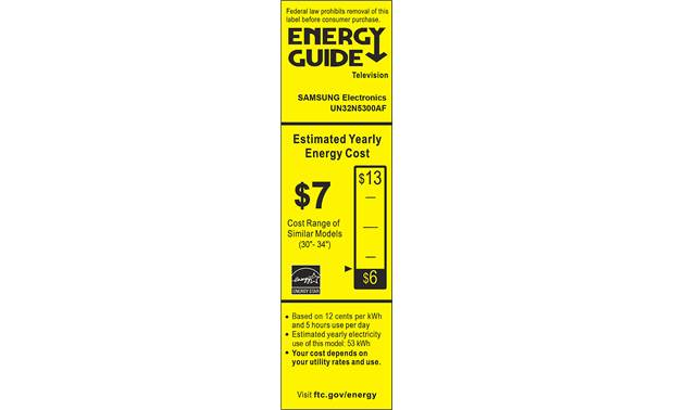 Samsung UN32N5300 Energy Guide