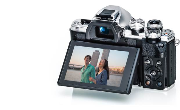 Olympus OMD E-M10 Mark II Kit Shown with touchscreen tilted upward