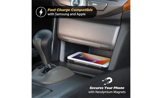 Scosche HAQ01 Charger shown installed in Honda's center console (phone not included)