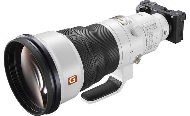 Sony FE 400mm f/2.8 GM OSS Angled front view, shown mounted on camera (not included)