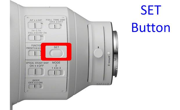Sony FE 400mm f/2.8 GM OSS SET button lets you select a desired autofocus point for instant recall
