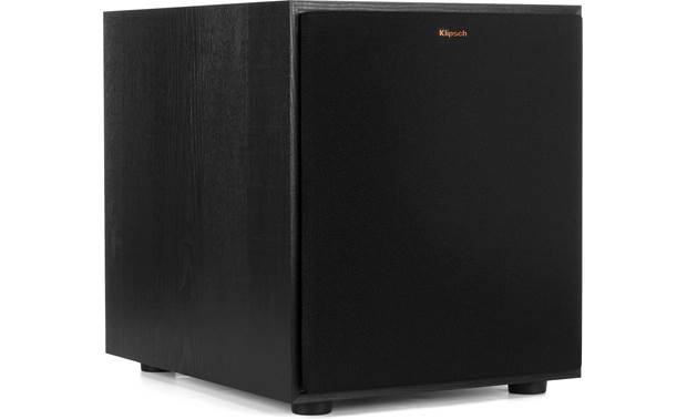 Klipsch R-100SW Angled view with grille in place