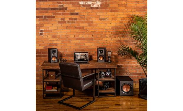 Klipsch R-120SW Shown as part of a desktop audio system