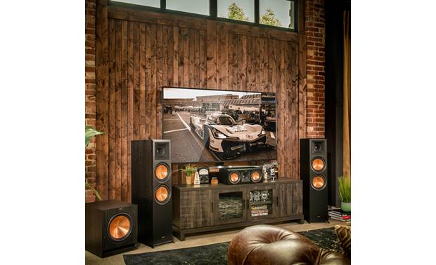 Klipsch Reference Premiere RP-400C Shown as part of a Klipsch home theater system