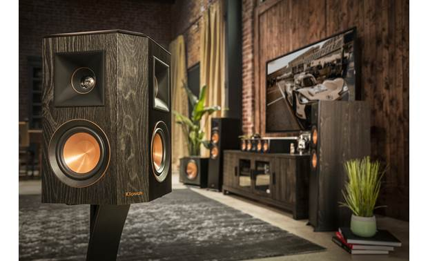 Klipsch Reference Premiere RP-402S Shown as part of a Klipsch home theater system