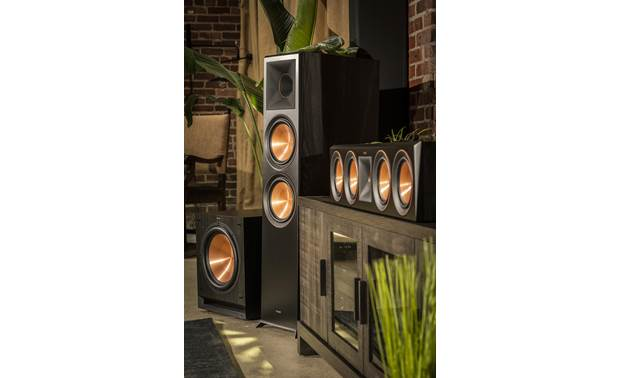 Klipsch Reference Premiere RP-404C Shown as part of a Klipsch home theater system