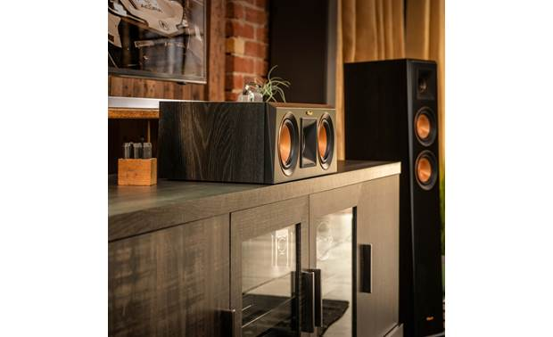 Klipsch Reference Premiere RP-600C Shown as part of a Klipsch home theater system