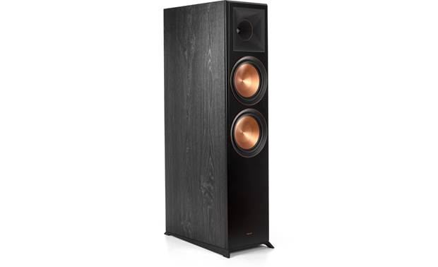 Klipsch RP-8060FA 5.1.2 Dolby Atmos® Home Theater Speaker System Angled view of floor-standing speaker with grille removed