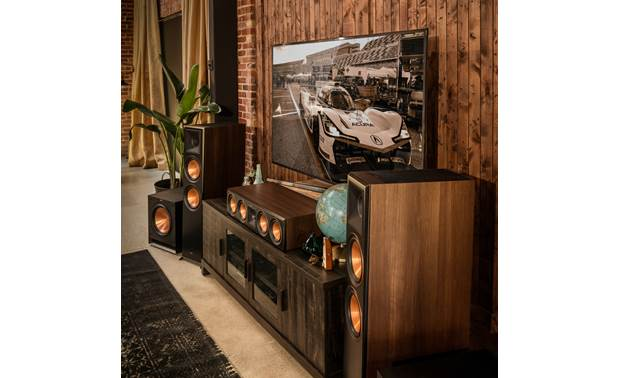 Klipsch Reference Premiere RP-8060FA Shown as part of a Klipsch home theater system