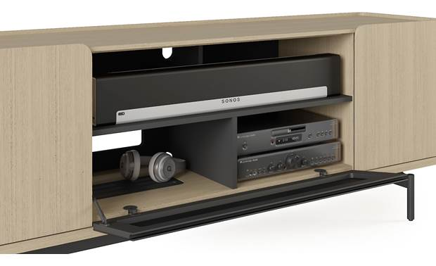 BDI Radius 8839 Drift Oak - spacious lower compartments can hold up to 4 components (sound bar, TV, components and accessories not included)