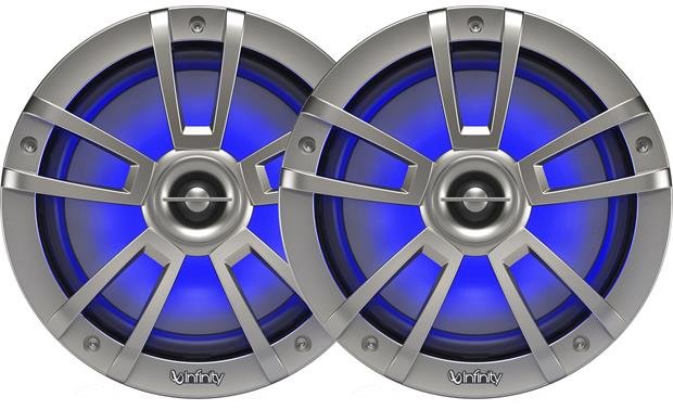 Infinity 822MLT marine-rated speakers with RGB LED lights