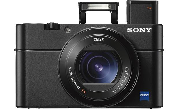 Sony Cyber-shot® DSC-RX100 V Shown with pop-up viewfinder and flash deployed