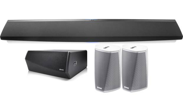 Denon HEOS 5.1 Home Theater System Black sound bar and subwoofer, white speakers