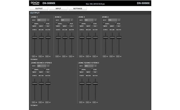 Denon DN-508MX Web-based interface offers individual zone control