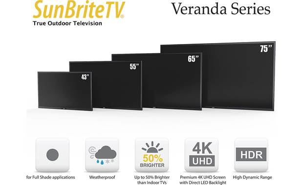 SunBriteTV SB-V-75-4KHDR-BL Veranda comes in several screen sizes to fit a variety of spaces