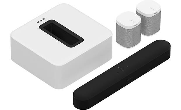Sonos Beam 5.1 Home Theater System with Play:1 Speakers Black bar/White Sub and speakers