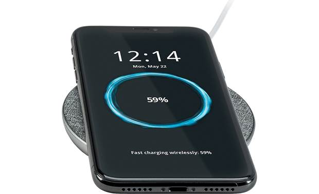 Ventev wireless chargepad+ Shown with Qi-enabled phone (not included)