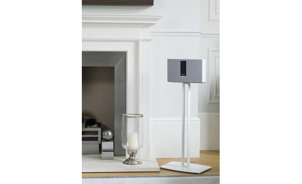 SoundXtra Floor Stand White - hollow support hides power cable (speaker not included)