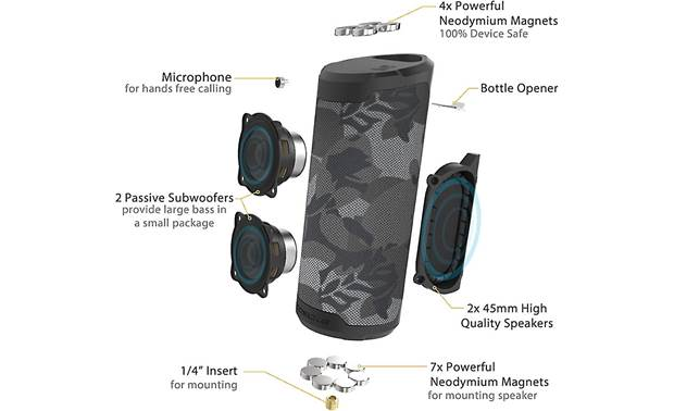 Scosche BoomBottle® MM Black Camo - exploded diagram