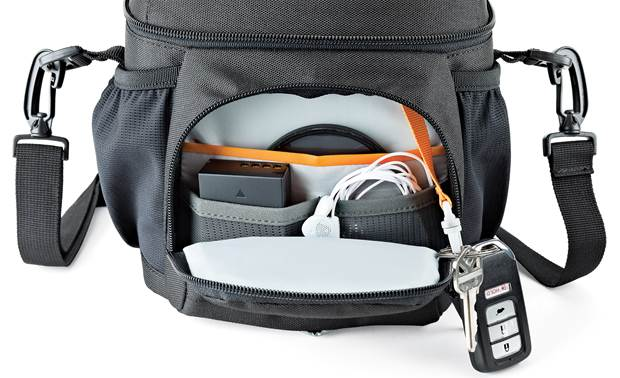 Lowepro Nova 140 AW II Zippered front compartment with slots for batteries, lens filters, and more