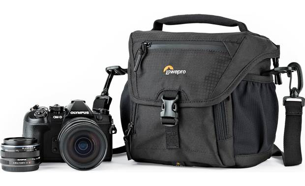 Lowepro Nova 140 AW II Shown with mirrorless camera and extra lens (not included)