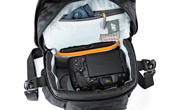 Lowepro Nova 140 AW II Interior zippered top flap compartment with memory card pocket