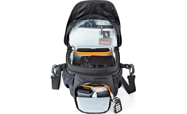 Lowepro Nova 140 AW II Shown with top flap and front compartment open