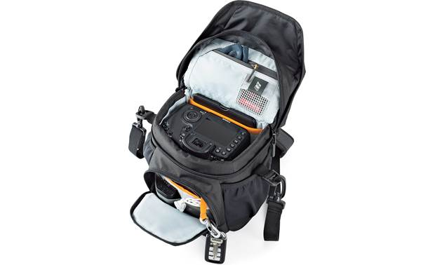 Lowepro Nova 140 AW II Angled view with top flap and front compartment open