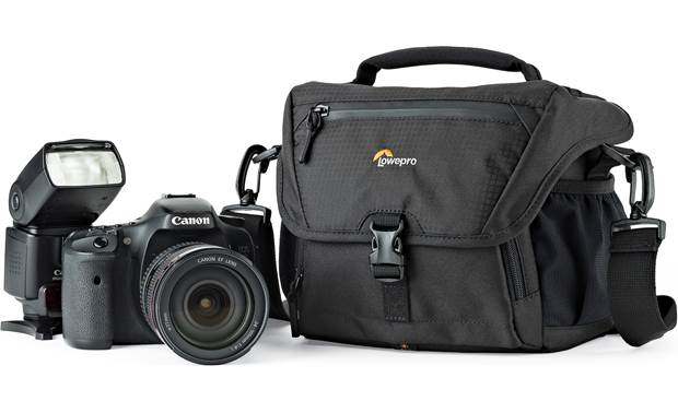 Lowepro Nova 160 AW II Shown with compact DSLR camera and flash (not included)